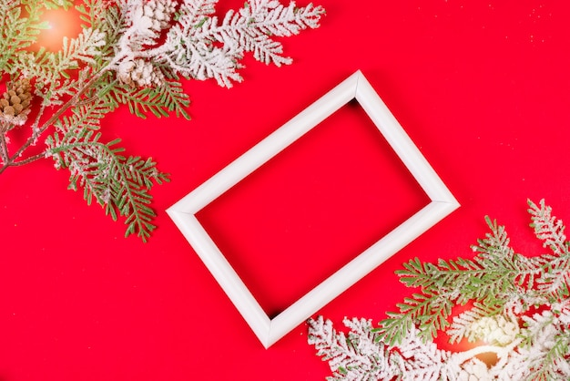 White photo frame with brances in the snow on red