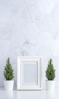 White photo frame with trees