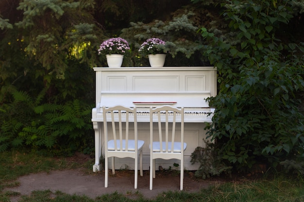 White piano and chairs with romantic decor in summer in garden. grand piano decorated with flowers stands in outdoors. garden decoration.  rustic. celebration