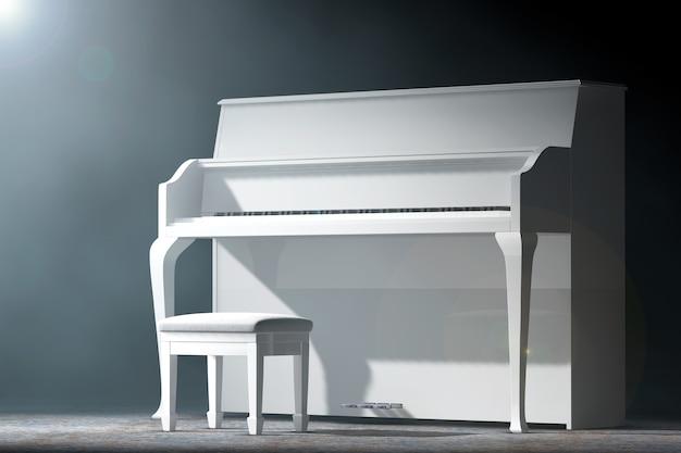 黒の背景にボリュームライトで白いピアノ。 3dレンダリング