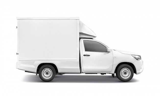 White pick up truck with container box roof rack for tranportation