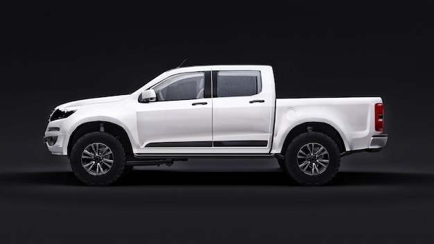 White pickup car on a black background. 3d rendering.