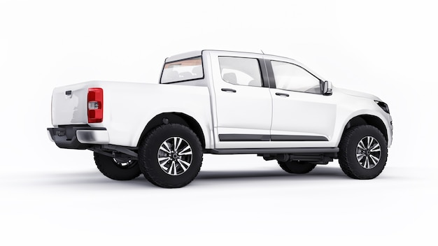 White pickup car on a white background. 3d rendering.