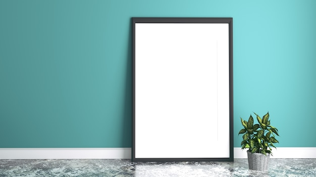 White picture frame. 3d rendering