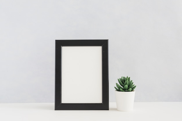 White picture frame and cactus pot on white desk against wall