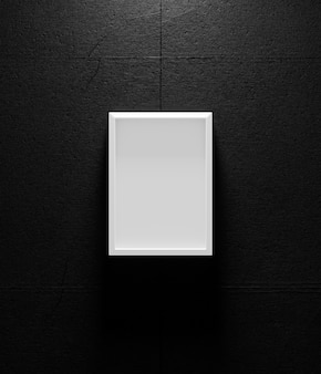 White picture frame on dark wall, 3d render