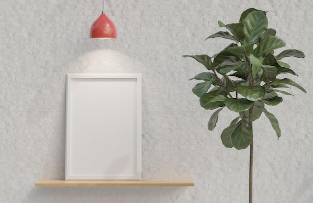白いレンガの壁のミニマリストスタイルの木製の棚に白い額縁。