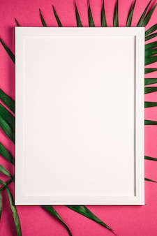 White picture frame with empty template on palm leaves, pink red background