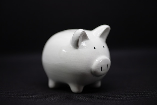 White piggy bank on a black background, piggy bank for saving money wealth and finance concept and the copyspace for design.