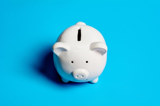White piggy bank. - save and management concept.