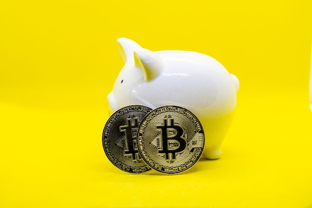 White piggy bank on a yellow background and two gold bitcoin. it for saving plan to keep money and the crypto currency in the future.