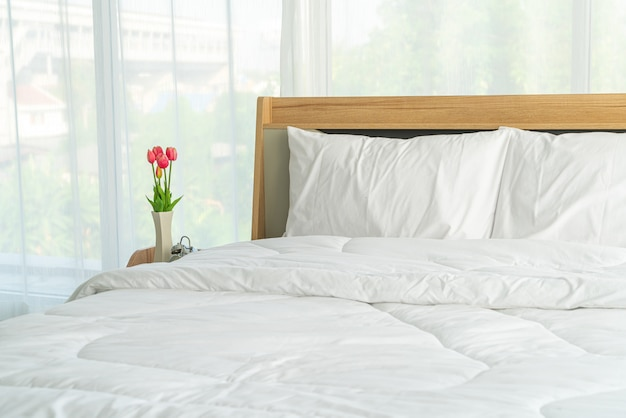White pillow on bed decoration in bedroom