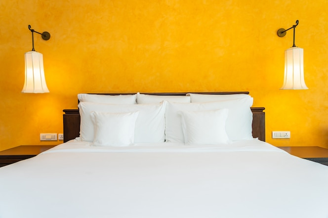 White pillow on bed decoration interior of bedroom