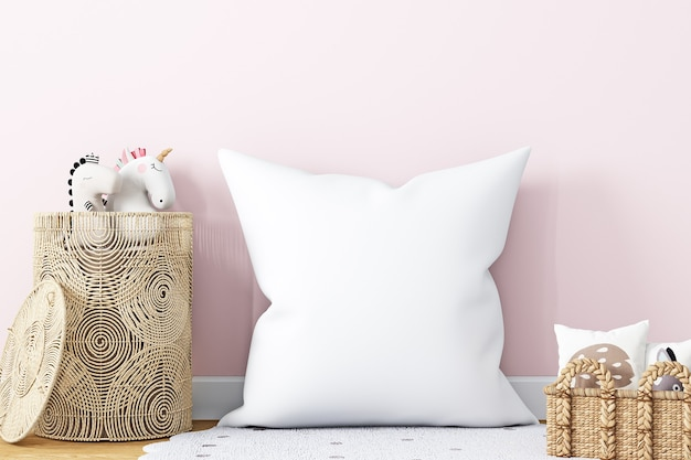 White pillow kids on a pink background