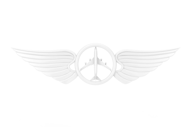 White pilot wing emblem, badge or logo symbol in clay style on a white background. 3d rendering