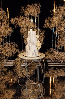 White-pink beautiful wedding cake on the background of the evening wedding arch.