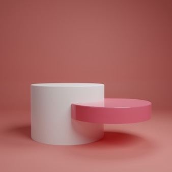 White pink pastel product stand on background. abstract minimal geometry concept. studio podium platform theme. exhibition business marketing presentation stage. 3d illustration render graphic design