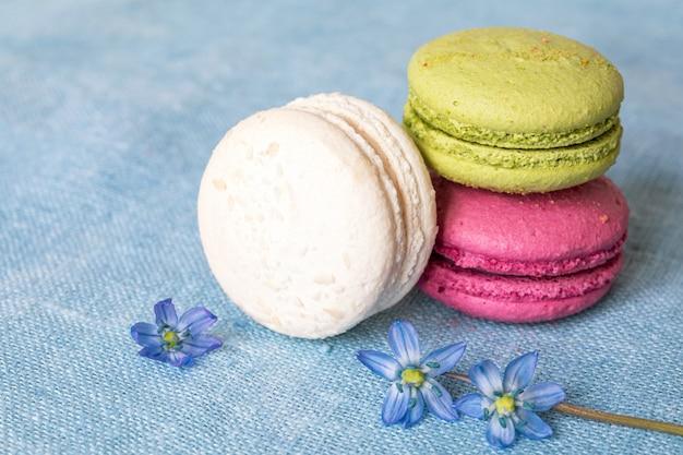 Белое, фисташковое и малиновое миндальное печенье и весенний цветок на льняной салфетке
