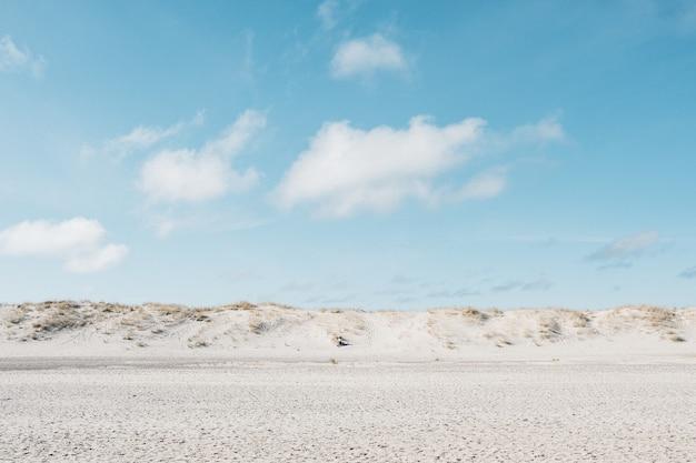 昼間の青い空の下の白い平野
