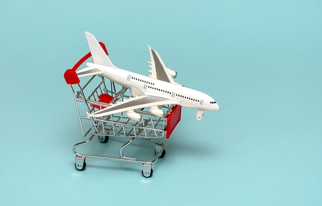 White plane on a basket. the concept of traveling and buying plane tickets. on a blue background.