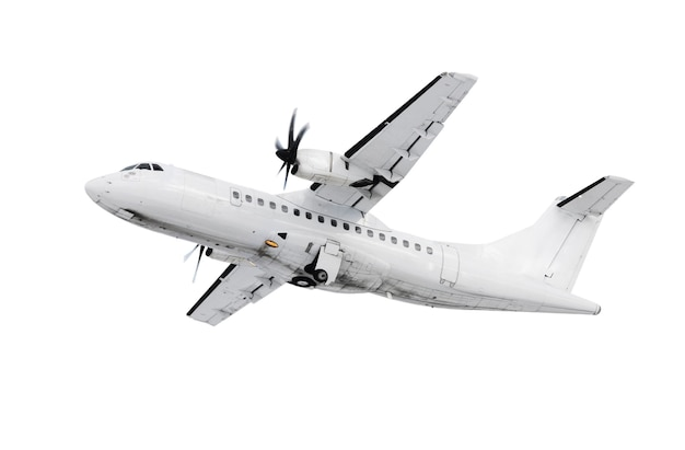 A white plane takinf off  /landing over white background