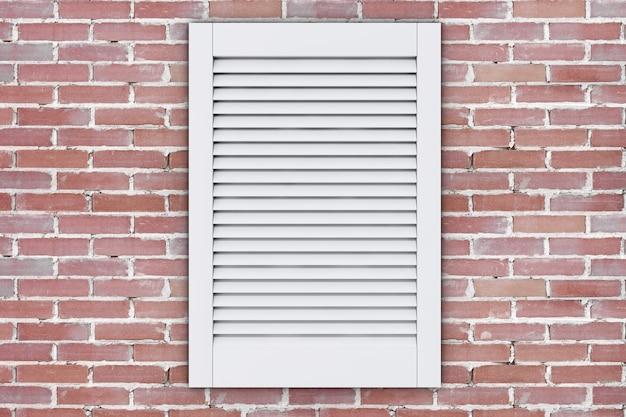 벽돌 벽에 흰색 플라스틱 공기 환기 그릴 창. 3d 렌더링