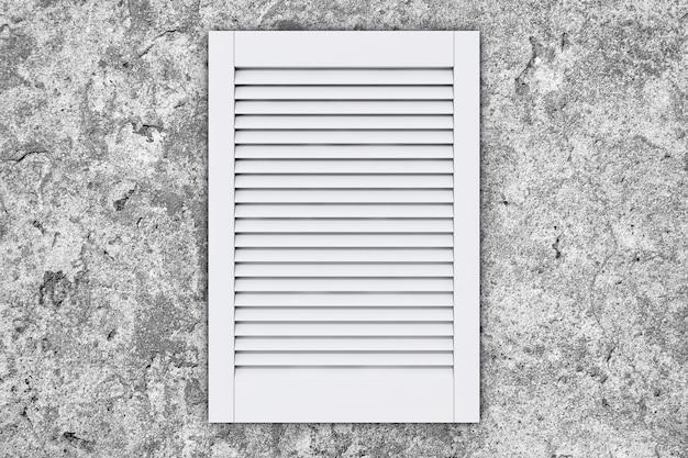 돌 벽에 흰색 플라스틱 공기 환기 그릴 창. 3d 렌더링