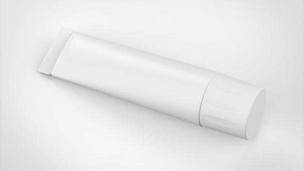 Белая пластиковая пустая трубка для лекарств или косметики, реалистичная прозрачная упаковка