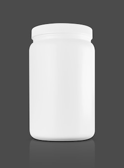 Белая пластиковая бутылка для добавки сывороточного протеина