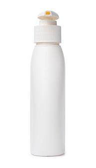 흰색 배경에 고립 된 세척액의 흰색 플라스틱 병
