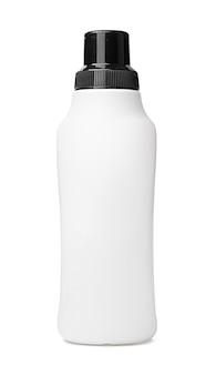 White plastic bottle of washing liquid isolated on white background