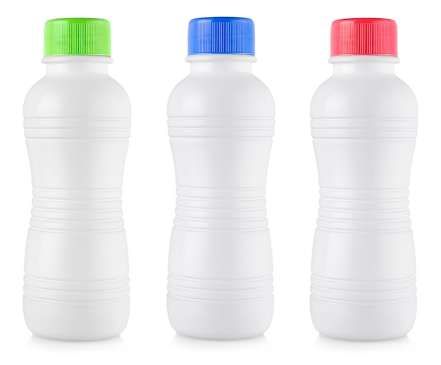 The white plastic bottles isolated on white