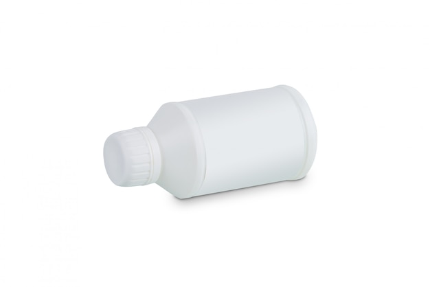 White plastic container for engine treatment products oil isolated