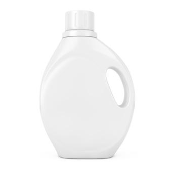 흰색 바탕에 당신의 디자인을 위한 빈 공간이 있는 흰색 플라스틱 세제 용기 병. 3d 렌더링