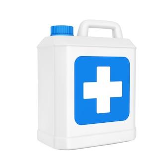 白い背景に青い十字ラベルが付いた白いプラスチック消毒ボトル。 3dレンダリング