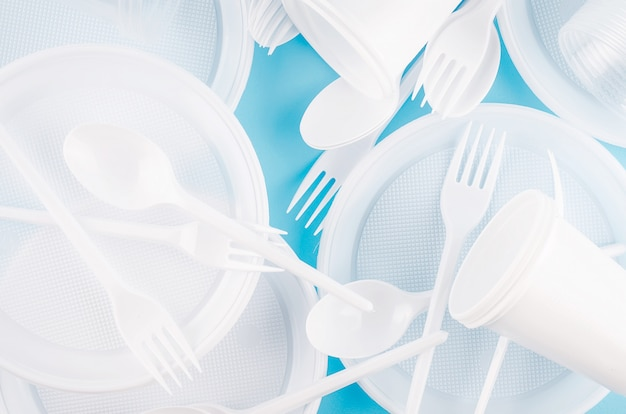White plastic disposable tableware