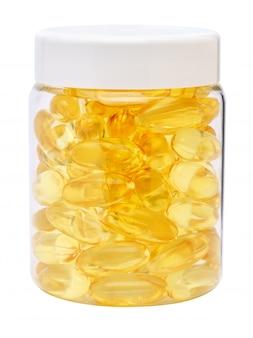 白いプラスチック製の薬瓶は白のカプシレとjarファイルできます。