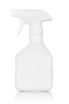 White plastic spray bottle isolated on white background