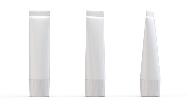 Набор белых пластиковых трубок для лекарств или косметики, реалистичный макет упаковки