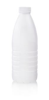White plastic yogurt milk bottle with lid isolated