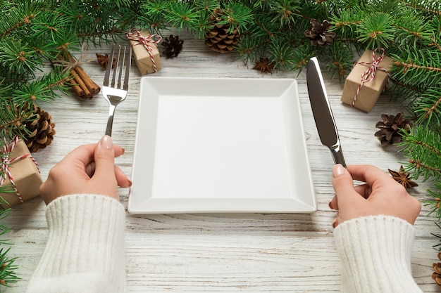 White plate on christmas table
