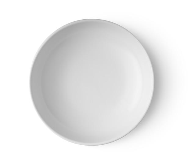 Белая тарелка, изолированные на белом фоне вид сверху