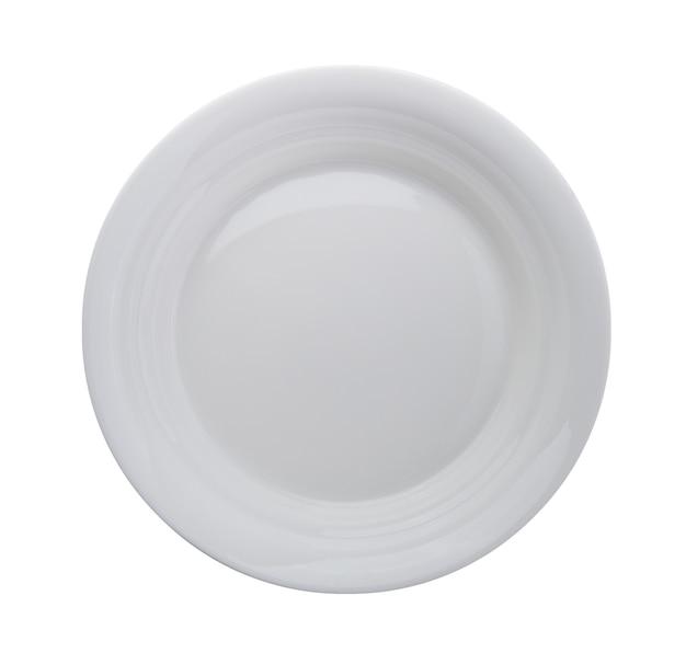 白い背景で隔離の白いプレート。