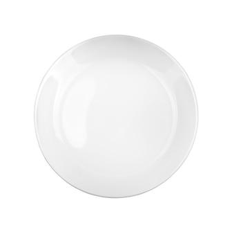 白い表面の上面図で分離された白いプレート