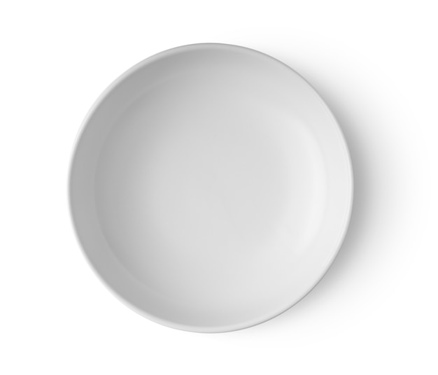 White plate isolated on white background top view