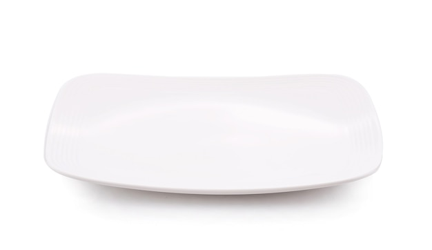 White plate square isolated on white bbackground