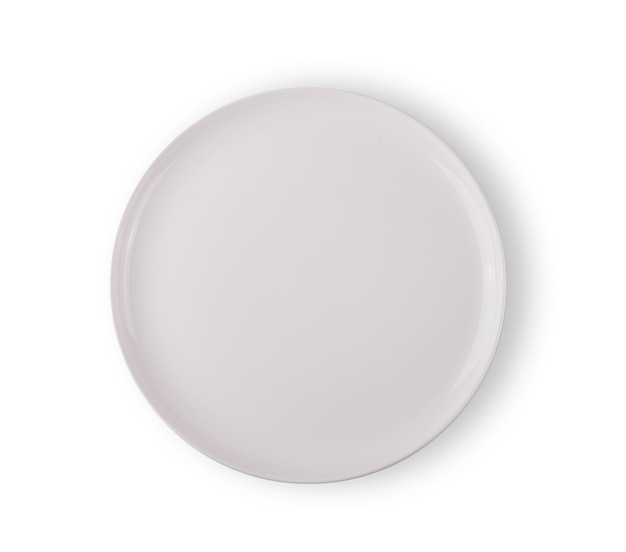 White plate top view on white background