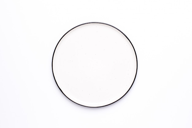 White plate with black border top view