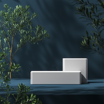 White platform on blue mockup scene, blur plants foreground and plants shade background, abstract background for product presentation or ads. 3d rendering