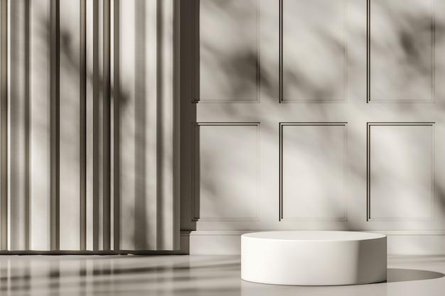 흰색 모형 장면의 흰색 플랫폼, 벽의 차양 및 나무 그림자, 제품 또는 프레젠테이션을 위한 추상적 배경. 3d 렌더링